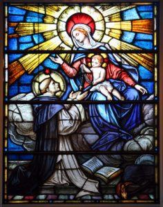 Der hl. Dominikus empfängt von der Jungfrau Maria den Rosenkranz